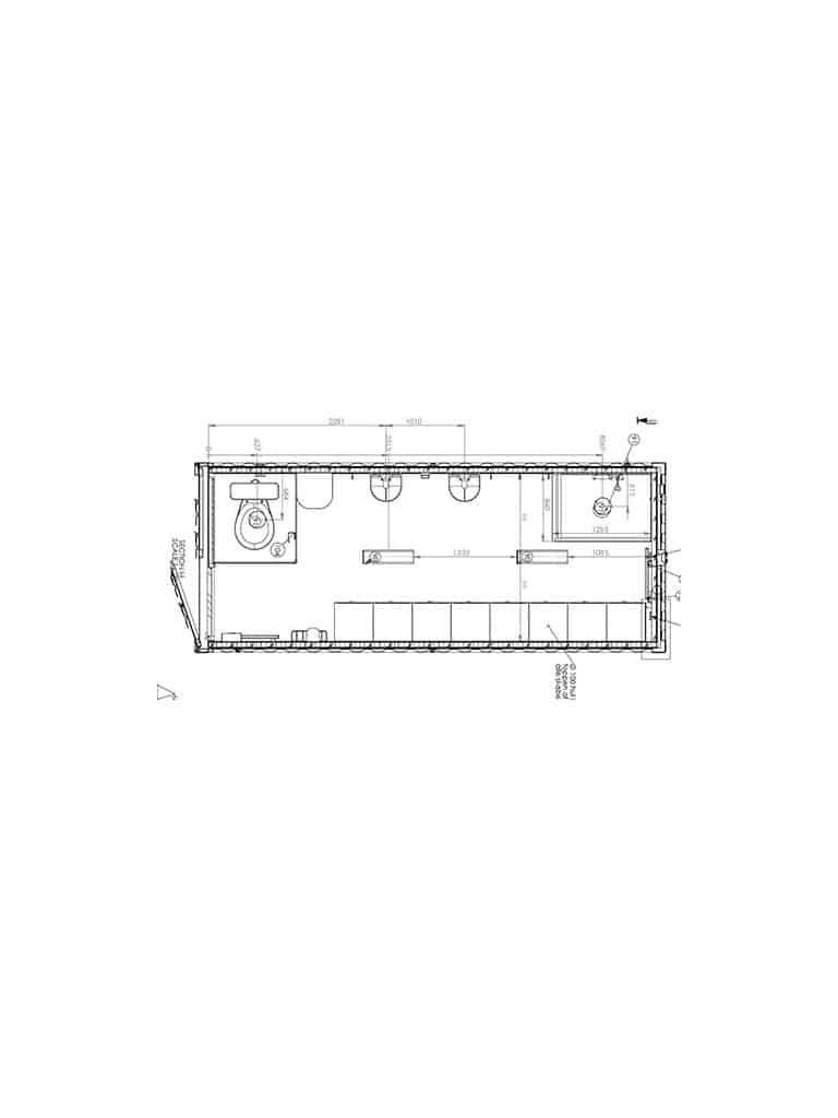 Shower/Changing room for up to 8 people, model 2052 - DKK 45,000 ex. VAT